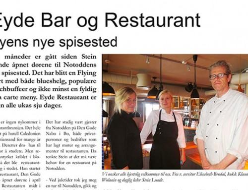 Eyde Bar og Restaurant – Byens nye spisested
